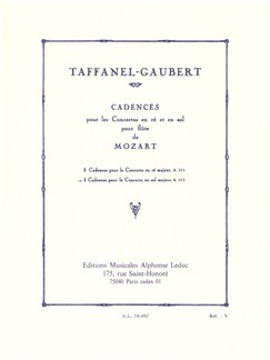 Paul Taffanel/Philippe Gaubert: 3 Cadences For Mozart's Flute Concerto In G Books | Flute, Piano Accompaniment
