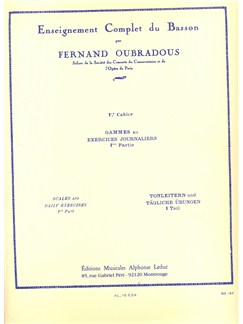 Fernand Oubradous - Enseignement Complet Du Basson,  1<sup>er</Sup> Cahier Books | Bassoon, Score, Study Guide