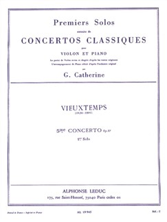Henri Vieuxtemps: First Solo - Violin Concerto No.5 Op.37 (Violin/Piano) (Catherine) Libro | Violín, Acompañamiento de Piano