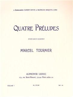 Marcel Tournier: Four Preludes For Two Harps Op.16 Vol.1 (Nos.1-2) Books | Harmonium (Duet)