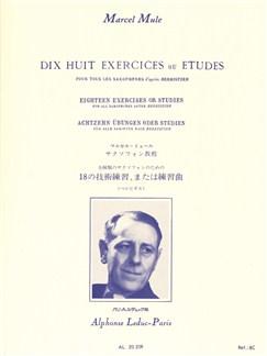 Marcel Mule: Dix Huit Exercices Et Etudes D'Après Berbiguier (Saxophone) Books | Saxophone