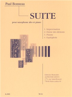 Paul Bonneau: Suite For Alto Saxophone And Piano Livre | Saxophone Alto, Accompagnement Piano