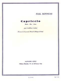 Paul Bonneau: Capriccio For Trombone And Piano Books | Trombone, Piano Accompaniment