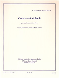 Raymond Gallois Montbrun: Concertstück (Clarinet/Piano) Books | Clarinet, Piano Accompaniment
