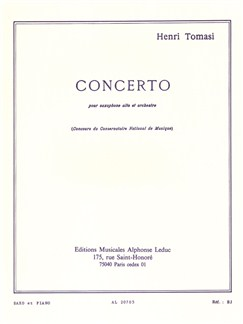 Henri Tomasi: Concerto For Alto Saxophone And Orchestra (Alto Saxophone/Piano) Books | Alto Saxophone, Piano Accompaniment
