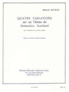 Marcel Bitsch: Quatre Variations Sur Un Thème De Domenico Scarlatti (Trumpet/Piano) Books | Trumpet, Cornet, Piano Accompaniment