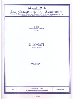 G..F. Handel: Sonata No.6 (Saxophone/Piano) (Mule) Books | Alto Saxophone, Piano Accompaniment