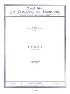J.S. Bach: Sonata No.4 (Alto Saxophone/Piano) (Arr. Marcel Mule) Books | Alto Saxophone, Piano Accompaniment