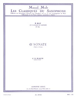 J.S. Bach: Sonata No.6 For Flute And Piano (Alto Saxophone/Piano Arr. Mule) Books | Alto Saxophone, Piano Accompaniment