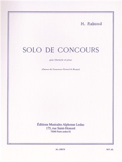 Henri Rabaud: Solo De Concours Op.10 (Clarinet/Piano) Books | Clarinet, Piano Accompaniment