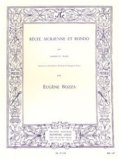 Eugène Bozza: Récit, Sicilienne And Rondo for Bassoon And Piano Books | Bassoon, Piano Accompaniment
