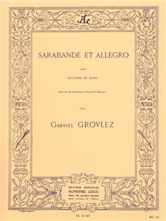 Gabriel Grovlez - Sarabande et Allegro pour hautbois et piano Livre | Hautbois, Piano, Partitions