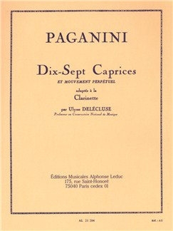 Niccolò Paganini: 17 Caprices for Clarinet (Delécluse) Books | Clarinet