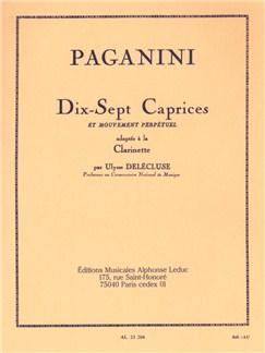 Dix-sept caprices et mouvement perpétuel adaptés à la Clarinette Livre | Clarinette, Partitions