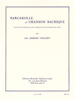 Jules Semler-Collery: Barcarolle Et Chanson Bachique Books | Tuba, Double Bass, Bass Trombone, Piano Accompaniment