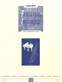André Jolivet: Fantaisie Impromptu (Alto Saxophone/Piano) Books | Alto Saxophone, Piano Accompaniment