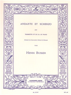 Henri Busser: Andante and Scherzo, Op. 44 (Trumpet and Piano) Books | Trumpet, Piano Accompaniment