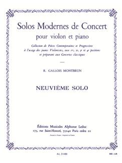 Raymond Gallois Montbrun: Neuvième Solo (Violin/Piano) Books | Violin, Piano Accompaniment