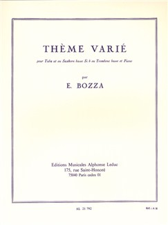 Eugène Bozza: Thème Varié (Bass Trombone et Piano) Livre | Trombone Basse, Tuba, Accompagnement Piano