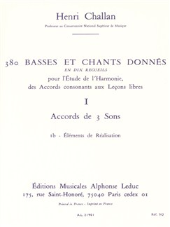 Henri Challan: 380 Figured Bass Exercises (1b) Books | Voice