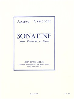 Jacques Castérède: Sonatine For Trombone And Piano Books | Trombone, Piano Accompaniment