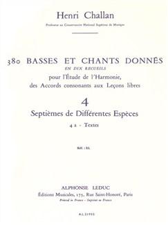 Henri Challan: 380 Basses Et Chants Donnés - Volume 4A (Septièmes De Différentes Espèces) Books | Voice
