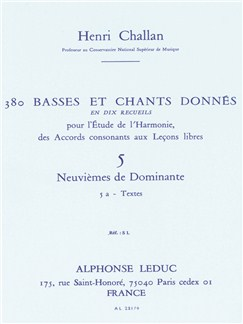 Henri Challan: 380 Basses Et Chants Donnés - Volume 5A (Dominant Ninth) Books | Theory Books and Papers