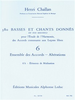 Henri Challan: 380 Figured Bass Exercises (6) Livre | Theory Books and Papers