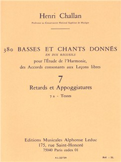 Henri Challan: 380 Figured Bass Exercises (7A) Livre | Theory Books and Papers