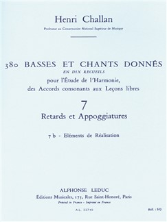 Henri Challan: 380 Figured Bass Exercises (7B) Livre | Theory Books and Papers