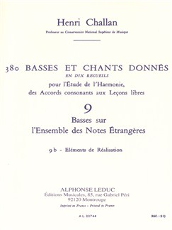Henri Challan: 380 Figured Bass Exercises (9B) Books | Theory Books and Papers