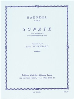 G.F.Handel: Sonata In B Flat (Clarinet) (Stievenard) Books | Clarinet, Piano Accompaniment