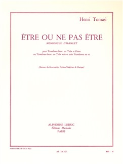 Henri Tomasi: Etre Ou Ne Pas Être (Tuba or Bass Trombone/Piano) Books | Tuba, Bass Trombone, Piano Accompaniment