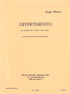 Roger Boutry: Divertimento For Alto Saxophone And Piano Books | Alto Saxophone, Piano Accompaniment