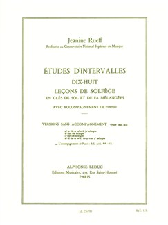 Jeanine Rueff: Études D'Intervalles - Dix-Huit Leçons De Solfège Books | Theory Books and Papers
