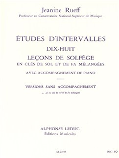 Rueff: Études D Intervalles 18 Lecons De Solfege 2 Cles Version À Sans Acct Books | Theory Books and Papers