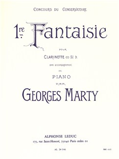 Georges Eugène Marty: Fantaisie No.1 (Clarinette & Piano) Livre | Clarinette
