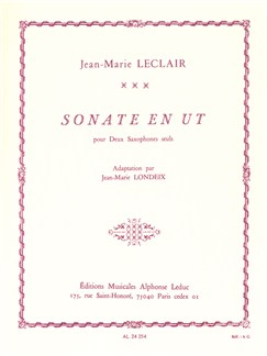 Jean-Marie Leclair: Sonata in C, adapted for 2 solo Saxophones by Jean-Marie Londeix Books |