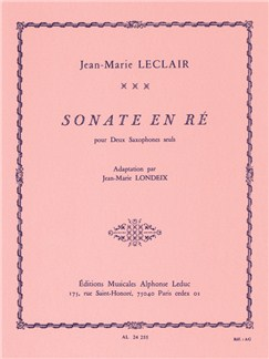 Jean-Marie Leclair: Sonate in D major (Saxophones 2) Livre | Saxophone(Duo)