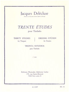 Jacques Delécluse: 30 Studies pour Timpani (Volume 1) Livre | Percussion