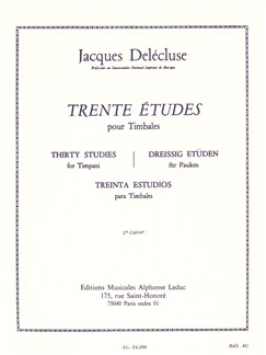 Jacques Delécluse: Trente Études Pour Timbales Libro | Percusión