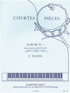 François Dupin: Courtes Pièces Vol.1 (Snare Drum) Books | Percussion, Drums, Piano Accompaniment