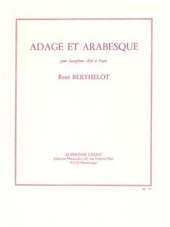 René Berthelot: Adage Et Arabesque (Saxophone Alto/Piano) Livre | Saxophone Alto, Accompagnement Piano