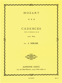 Cadenzas For Mozart's Concerto In D (Flute) (Donjon) Books | Flute