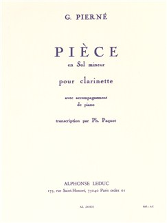 Gabriel Pierné: Pièce In G minor Op.5 (Clarinet) (Paquot) Books | Clarinet, Piano Accompaniment