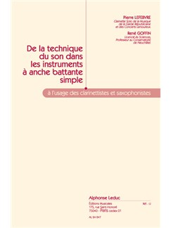Lefèbvre P.& Goffin R.: De la Technique du Son dans les Instruments à Anche (Clarinet solo) Books | Clarinet