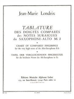 Jean-Marie Londeix: Tablature des Doigtés comparés des Notes sur-aiguës (Saxophone solo) Books | Saxophone