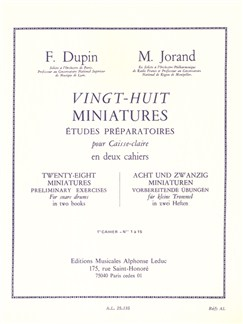 François Dupin/Marcel Jorand: 28 Miniatures For Snare Drum Vol.1 Buch | Percussion, Schlagzeug