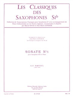 George Frideric Handel: Sonata No.1 (B Flat Saxophone/Piano) (Londeix) Books | Tenor Saxophone, Piano Accompaniment