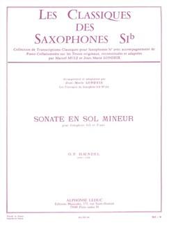 G.F.Handel: Sonata In G Minor (Saxophone In B Flat/Piano) (Londeix) Books | Tenor Saxophone, Piano Accompaniment